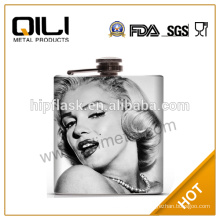 18 10 FDA 6oz stainless steel water transfer full color whisky hip flask