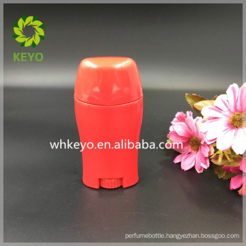 50g oval Plastic deodorant stick container with 4 openings on the top oval shape red ABS twist up container