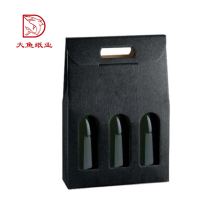 Kundenspezifischer preiswerter Preis des Logos gewellte schwarze Weingeschenkbox 3 Flaschen