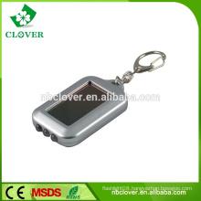 Silver painting 3 led mini solar power flashing lcd keychain