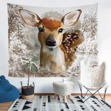 Four Seasons Polyester Tapestry with 3D Printed Cartoon Deer Elk Pattern