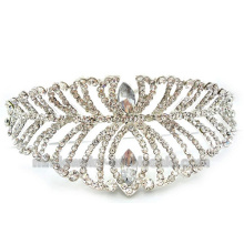 Fashion White Leaf Shape Two Layers Charms Bride Crown Comb Ornaments