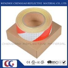 Vermelho e branco PVC listra precaução fita adesiva reflexiva (C3500-S)