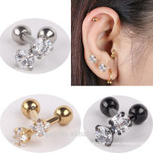 Crystal Stainless Steel Tragus Helix Ear Stud Earring Ball Barbell Ear Piercing Black Silver Gold Barbell