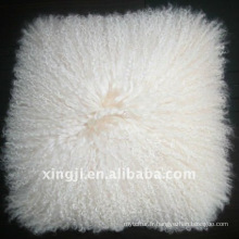 Couleur naturelle blanche mongol fourrure tibet agneau oreiller de fourrure