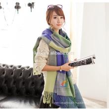 Unisex large tartan checked cashmere shawl pashmina camel green fashionable scarf