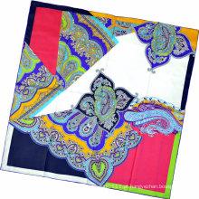 Senhora moda paisley impresso lenço quadrado de seda (hc1315-1)