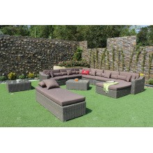 Sofá rattan sintético grande conjunto para muebles de mimbre de jardín al aire libre