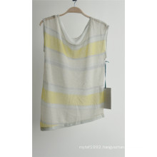 Ladies Fashion Patterned Striped Sleeveless Sweater