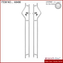 metal material glass door long handle with lock
