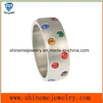 Venta al por mayor de piedra natural de acero inoxidable joyas de moda anillo