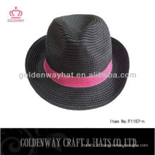 Noir avec bande rouge papier fedora indiana jones hat