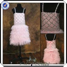 FF0008 реальный образец перо скрт розовый цветок девочки платья для 7 летних
