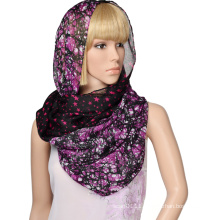 100%polyester voile printed stars and trees double layer scarf infinity scarf for women