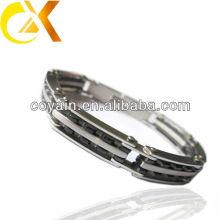 2015 handmade stainless steel bracelet with black color