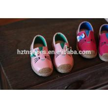Прекрасная обувь кошки детей плоские повседневная обувь девочек espadrille повседневная обувь