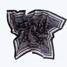 Lady Fashion Printed Satin Silk Magic Black Scarf