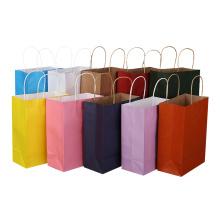 Eco friendly custom logo luxury customized grocery kraft paper bag with pp handle