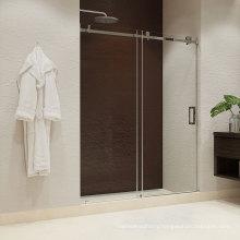Seawin Single Satin Silver Sliding Bathroom Tempered Glass Shower Doors