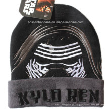 China Factory Cheap Warm Winter Acrylic Knit Beanie Black Embroidered Sports Beanie Hat