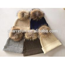 5colors Lager Rippe gestrickt 7GG Kaschmir Mütze Hüte mit abnehmbaren Waschbären Pom Poms