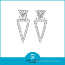 S925 Silver Jewelry Real White Gold Plated Silver Earring (E-0254)