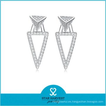 S925 Joyas de plata Real Oro blanco plateado Pendiente de plata (E-0254)