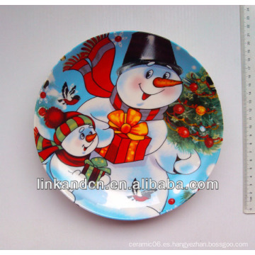 2014 mejor calidad muñeco de nieve cerámica placa de arte, muñeco de nieve cena de cerámica placas laterales