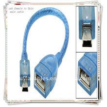 BRAND NEW PREMIUM 20cm USB female to mini 5-контактный мужской кабель Прозрачный синий