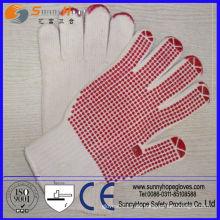 Rote PVC-Punkte auf Palme PVC-punktierten Handschuh