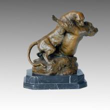 Tier Statue Löwen Kämpfen Bronze Skulptur Tpal-114