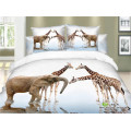 White and brown color horses are running fast designs bed sheet set blanket microfiber sheet set