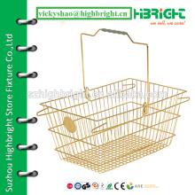 vintage metal basket,steel wire mesh shopping basket,golden colour wire grocery basket