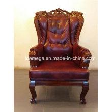 Barroco de cuero real rey trono silla para oficina y uso doméstico