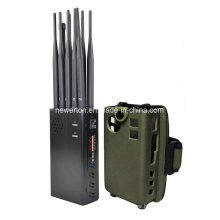 High Power 10 Antennas Portable 2g/3G/4G/5g Mobile Phone Signal Jammer Lojack GPS Wi-Fi 315/433/868MHz RF Signal Blocker 7watt Jamming up to 20m