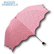 Artículos de regalo muy baratos promoción de ventas esbozo 3 estilo de lápiz plegable estilo de impresión personalizado corazón Mini paraguas de bolsillo para niñas