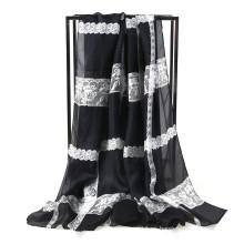 Bufanda de seda de la mujer de la impresión del cordón de la gasa de la manera
