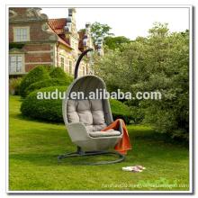 Audu Grey Rattan Outdoor Swing Chair Bed