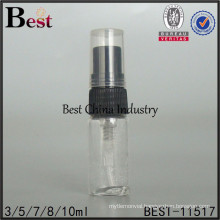 clear perfume tester bottle, 3ml clear perfume tube bottle with black plastic sprayer