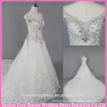 WD6023 Quality fabric heavy handmade export quality chapel train floral crystal beaded cap-sleeves wedding dress