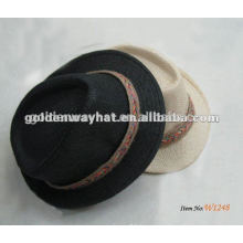 paper black with white band fedora hat