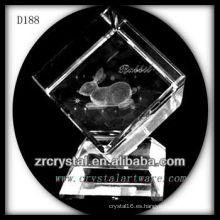 K9 Laser 3D conejo dentro de cubo de cristal