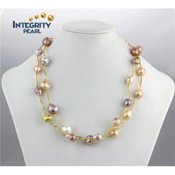 10-13mm AA Mixed Color Fashion Edison Freshwater Pearl Necklace Chain for Women