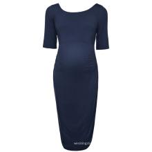 Kate Kasin Women Comfortable Half Sleeve Crew Neck Navy Blue Cotton Maternity Party Dress KK000502-2