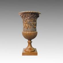 Vase Statue Children/Kids Bronze Jardiniere Sculpture TPE-1043