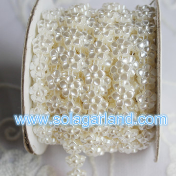 11MM bloemvorm 10Yard / Roll Plastic Pearl Bead Chain Trim