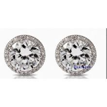 White Cubic Zirconia Stud Earrings (E8907)