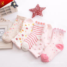 Breathable Cotton Pattern Young Girl Pink Dress Socks