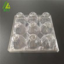 Plateaux d'oeufs carrés en plastique de 9 trous carrés