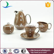 simple and beautiful porcelain brown coffee set tea set china